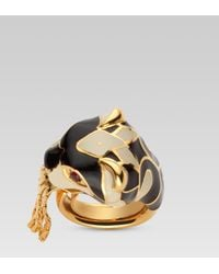 Gucci - Metallic Ring with Tiger Head - Lyst