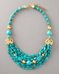 Jose & Maria Barrera | Blue Turquoise & Gold Necklace | Lyst