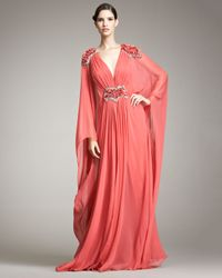 Marchesa | Red Plunging-V Caftan Gown | Lyst