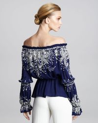 Naeem Khan - Blue Off-the-shoulder Embroidered Peasant Blouse - Lyst
