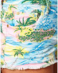 River Island | Green River Island Peekaboo Tropical Print Short | Lyst