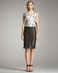 Armani | Black Leather Ruffle Skirt | Lyst
