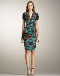 Burberry Prorsum - Green Printed Inset Dress - Lyst