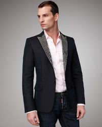 DSquared² - Black Studded Classic Blazer for Men - Lyst