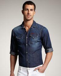 DSquared² - Blue Short-sleeve Denim Shirt for Men - Lyst