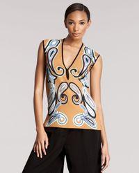 Etro | Brown Paisley Print Drape Top | Lyst