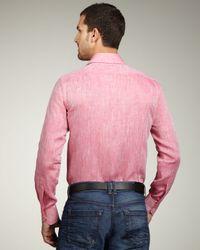 Etro   Pink Linen Sport Shirt for Men   Lyst