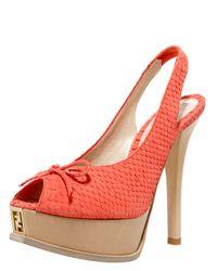 Fendi | Orange Snake-Print Slingback Platform Sandal | Lyst