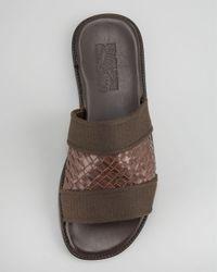 Ferragamo | Brown Bud Woven Slide Sandal for Men | Lyst