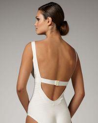 Hervé Léger | Basic Bandage Swimsuit, White | Lyst