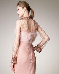 J. Mendel - Pink Long-sleeve Fur & Sequin Bolero - Lyst