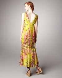 Jean Paul Gaultier - Yellow Floral-print Maxi Dress - Lyst