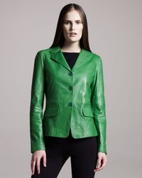 Jil Sander | Green Three-button Leather Jacket | Lyst