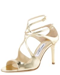 Jimmy Choo | Metallic Ivette Mirrored Crisscross Sandal | Lyst