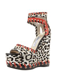 Jimmy Choo | Multicolor Leopard-print Whipstitched Wedge Sandal | Lyst