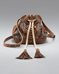 Lanvin | Brown Gaby Python Drawstring Bag | Lyst
