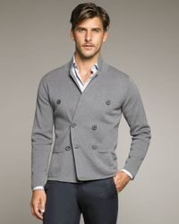 Lanvin - Gray Double-breasted Knit Jacket for Men - Lyst