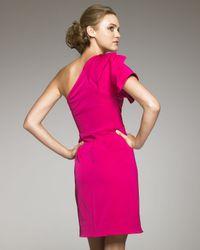 Lela Rose - Pink Gathered One-shoulder Dress - Lyst