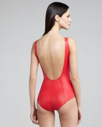 Lisa Marie Fernandez - Red Jasmine Zip-up Low-back One-piece Swimsuit - Lyst
