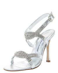 Manolo Blahnik | Metallic Crystal Ankle-strap Sandal | Lyst