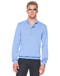 Michael Kors - Button/zip Sweater, Cornflower Blue for Men - Lyst