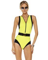 Michael Kors | Green Colorblock Scuba Swimsuit | Lyst