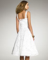 Oscar de la Renta - White Battenberg Lace Dress - Lyst