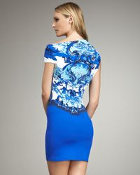 Roberto Cavalli | Blue Asymmetric-neck Ruched Mini Dress | Lyst