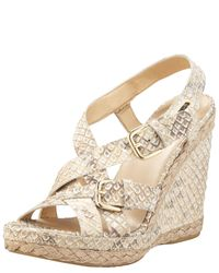 Stuart Weitzman | Natural Snake-embossed Wedge Sandal | Lyst