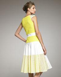 Thakoon - White Cap-sleeve Eyelet Colorblock Dress - Lyst