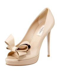 Valentino | Black Couture Patent Bow Pump | Lyst