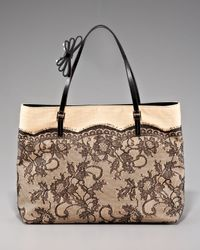 Valentino - Natural Lace Straw Tote - Lyst