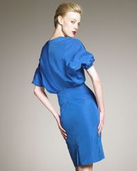 Saint Laurent - Blue Kimono-Sleeve Taffeta Dress - Lyst