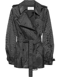 Saint Laurent | Animal Metallic Leopard Jacquard Trench Coat | Lyst