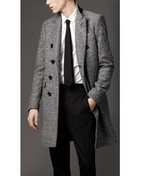 Burberry | Black Donegal Wool Chesterfield Coat for Men | Lyst