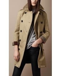 Burberry Brit | Natural Midlength Cotton Trench Coat | Lyst