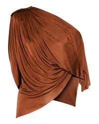 La Petite Salope - Brown Asymmetric Draped Satin-jersey Top - Lyst