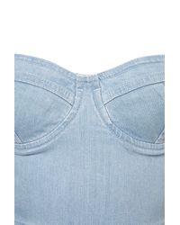 TOPSHOP | Blue Denim Cupped Bandeau Dress | Lyst