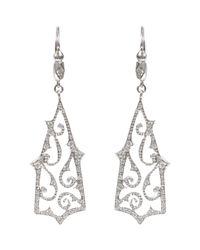 Cathy Waterman - White Diamond Klimt Long Swirl Earrings - Lyst
