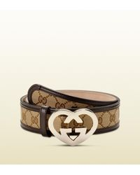 cd874354311 Gucci Belt With Heart-shaped Interlocking G Buckle in Metallic - Lyst