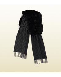 Gucci | Black Rabbit Fur & Gg Pattern Cashmere Scarf | Lyst