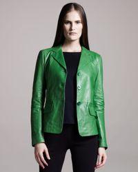 Jil Sander - Green Three-button Leather Jacket - Lyst