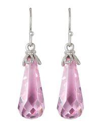 Judith Ripka | Metallic Briolette Wire Earrings Pink Crystal | Lyst