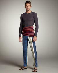 Lanvin - Blue Striped Silk Pants for Men - Lyst