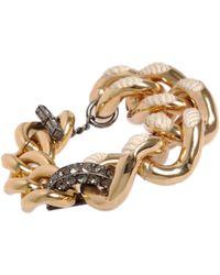 Lanvin | Metallic Gold Crystal Cord Gourmette Bracelet | Lyst