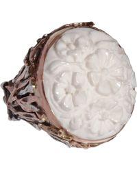 Sandra Dini - Metallic White Agate Ring - Lyst