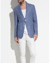 Zara | Blue Blazer with Contrasting Elbow Patches for Men | Lyst