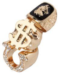 ASOS - Metallic Dollar Horse Sovereign Ring Pack - Lyst