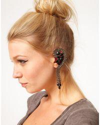 Swarovski - Black Asos Rhinestone Ear Cuff with Stones - Lyst