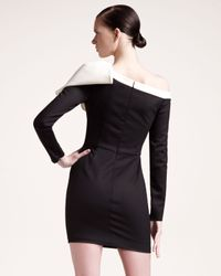 Valentino | Black Bow Shoulder Long Sleeve Dress | Lyst